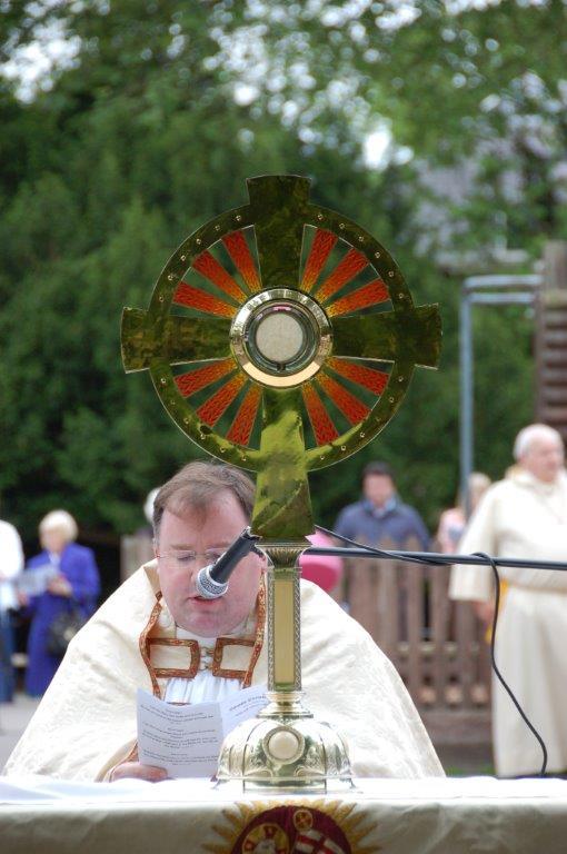 Rt Rev Hugh Allan o.praem before the Most Blessed Sacrament.