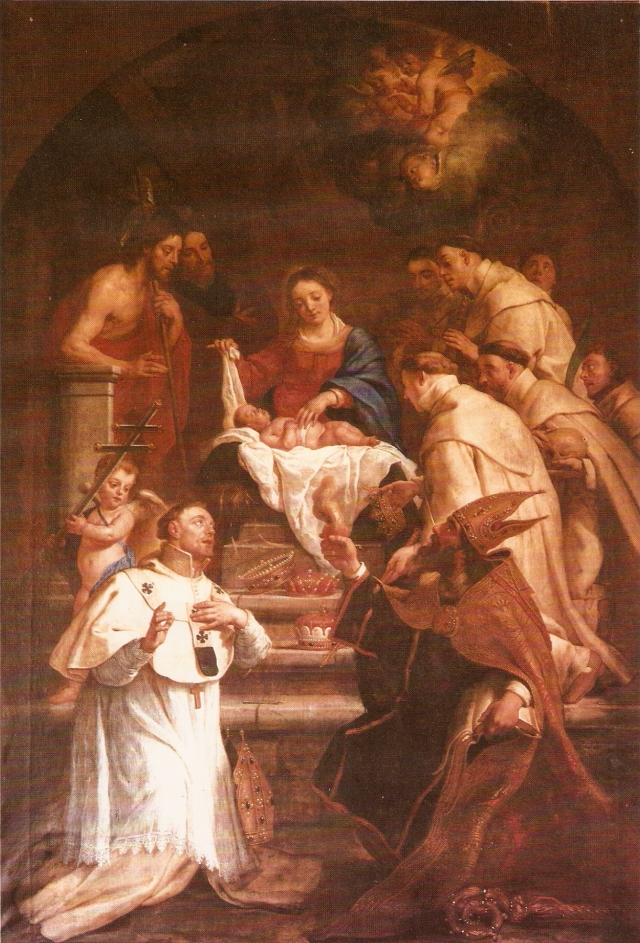 Our Holy Father Norbert and the early saints of the Order adore the Christ Child (from a painting in the chapter house of the abbey of Averbode)