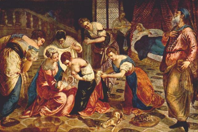"The Nativity of St John the Baptist, Tintoretto. ""He is to be great before God and men."""