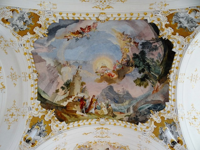 The foundation of the Order, and the Eucharistic Triumph of St Norbert, depicted on the ceiling of the Benedictine Abbey church at Schäftlarn, near Lake Starnberg, in Bavaria.
